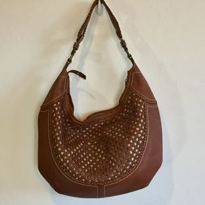 Cole Haan Brown Leather Woven Basket Weave Purse